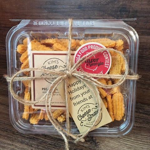CUSTOM TAG Pound Container of Cheese Straws for Gifting- 6 pack