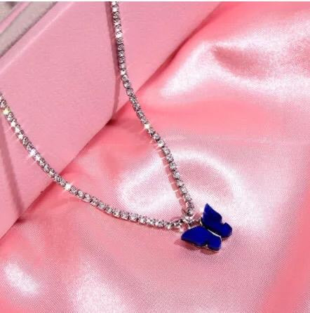 Blue Rhinestone Butterfly Necklace