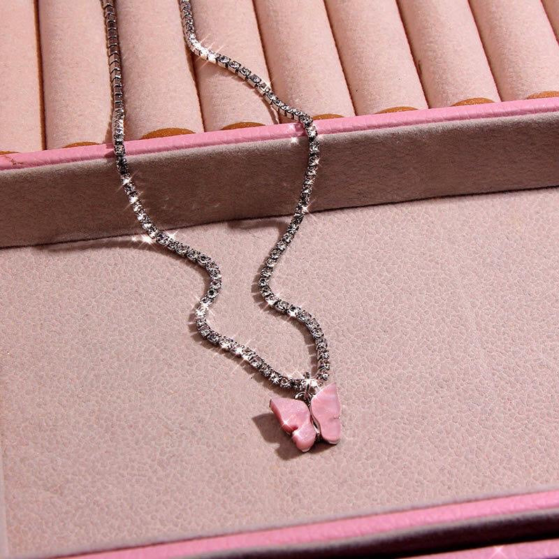 Pink Rhinestone Butterfly Necklace