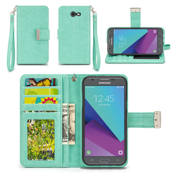 Samsung Galaxy J3 Mission Wallet Phone Case Flip Cover