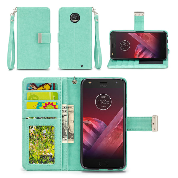 Motorola Moto Z2 Play Mint Wallet Phone Case