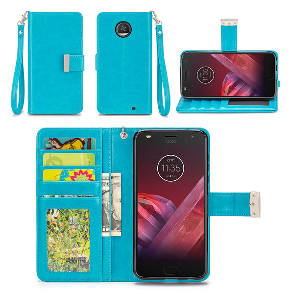 Motorola Moto Z2 Play Turquoise Blue Wallet Phone Case