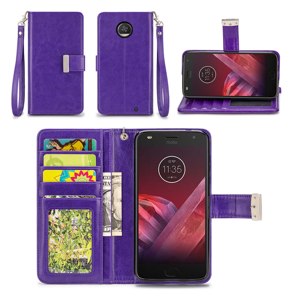 Motorola Moto Z2 Play Purple Wallet Phone Case