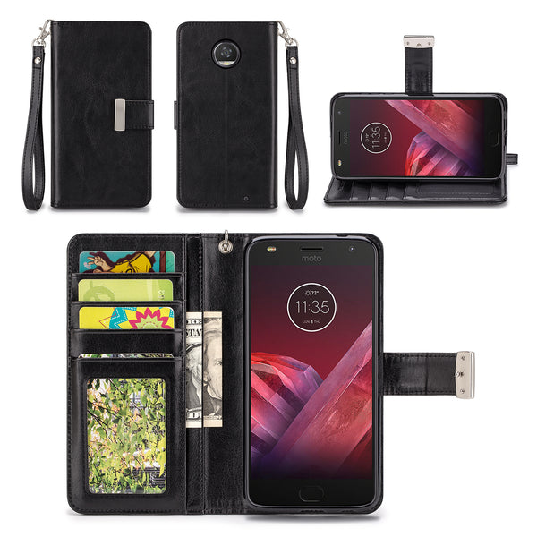 Motorola Moto Z2 Play Black Wallet Phone Case