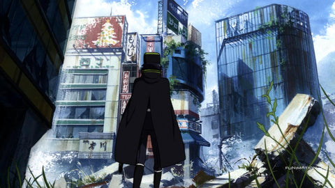 Yuichiro looking at a destroyed city while on patrol.