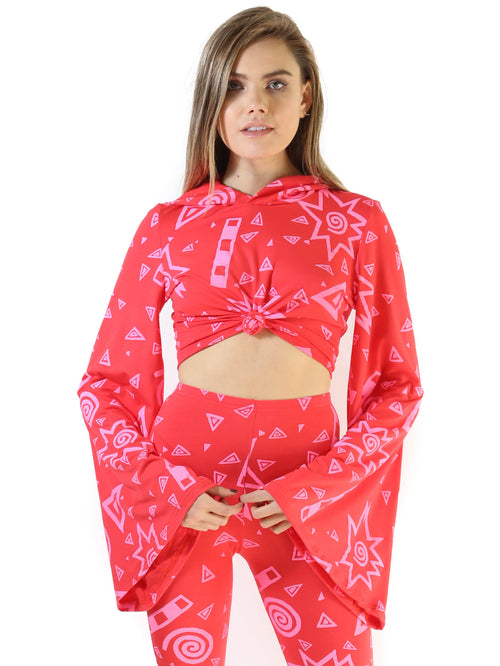 Art School Bell Sleeve Crop- Red