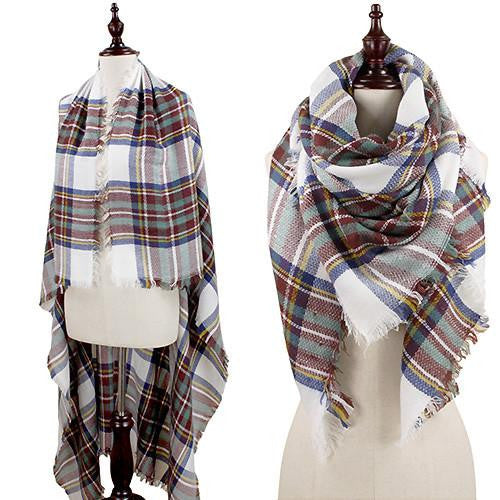 Oversized Plaid Blanket Scarf -Beige, Blue, and Maroon