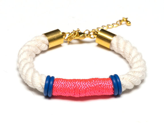 Neon Pink & Blue Nautical Rope Bracelet