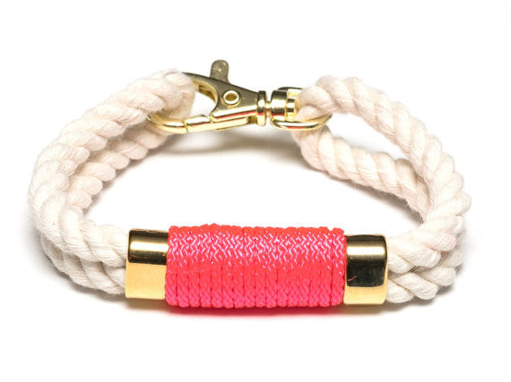 Neon Pink Nautical Double Rope Bracelet