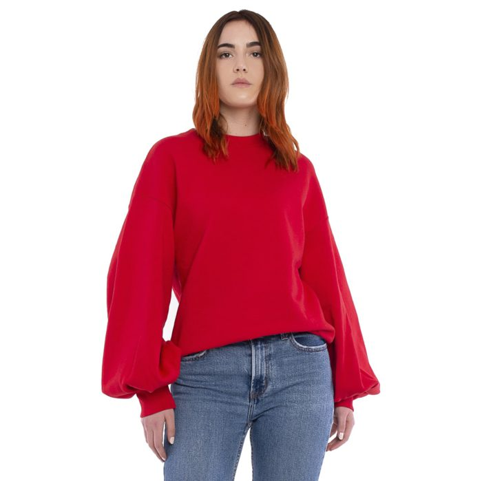 Crew Neck Sweatshirt with Puff Sleeves - Msgm. Solid color cotton long puff sleeve, scoop neck sweatshirt. Contrast MSGM logo behind collar. Ribbed cuffs and bottom. Regular fit. Made in Italy.