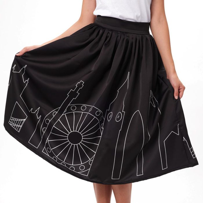 valentina poltronier black midi skirt with graphics