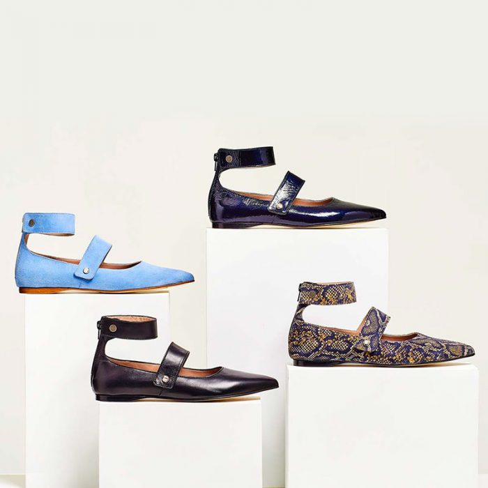 Ouigal footwear: four models of ballerinas in different colors and fabrics with strap detail