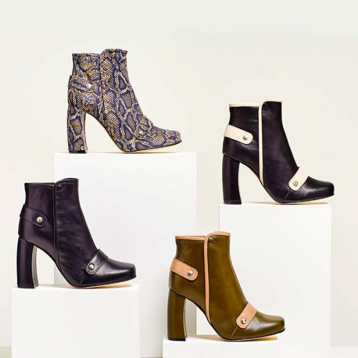 Ouigal footwear: four models of ankle boots in different fabrics and colors with the detail of a curved high heel