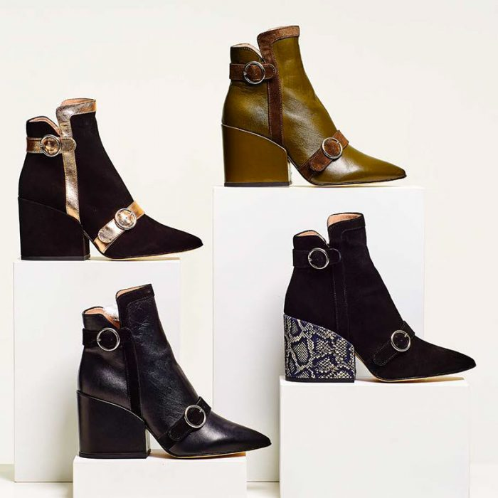 Ouigal footwear: four models of ankle boots in different fabrics and colors with metallic details
