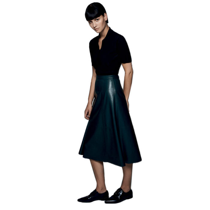 green leather skirt the al