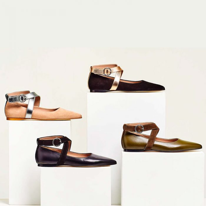 Ouigal footwear: four models of ballerinas in different colors and fabrics with crossed ankle strap