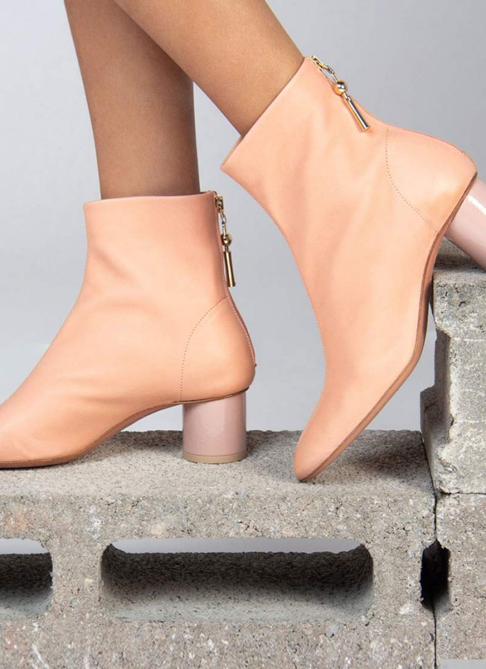 Ankle boots by Anna Baiguera in salmon pink