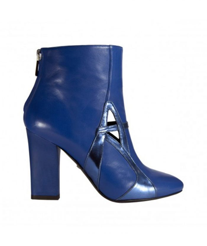 Luisa Tratzi shoe, ankle boots, blue, wide and geometric heel