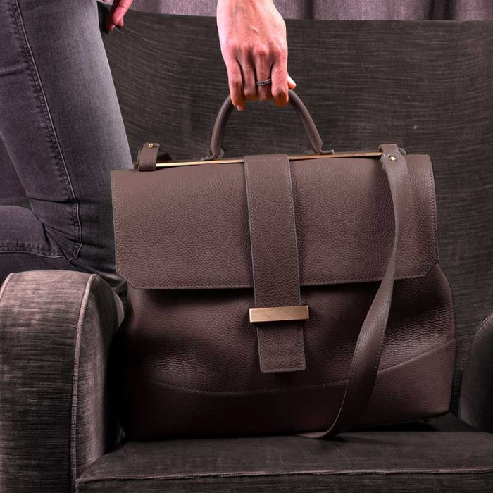 Handbag by Marco Trevisan: soft taupe grained leather spacious bag with handle and shoulder strap