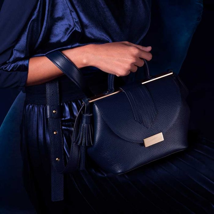 Handbag by Marco Trevisan: small handbag in midnight blue leather with handle, shoulder strap and golden details