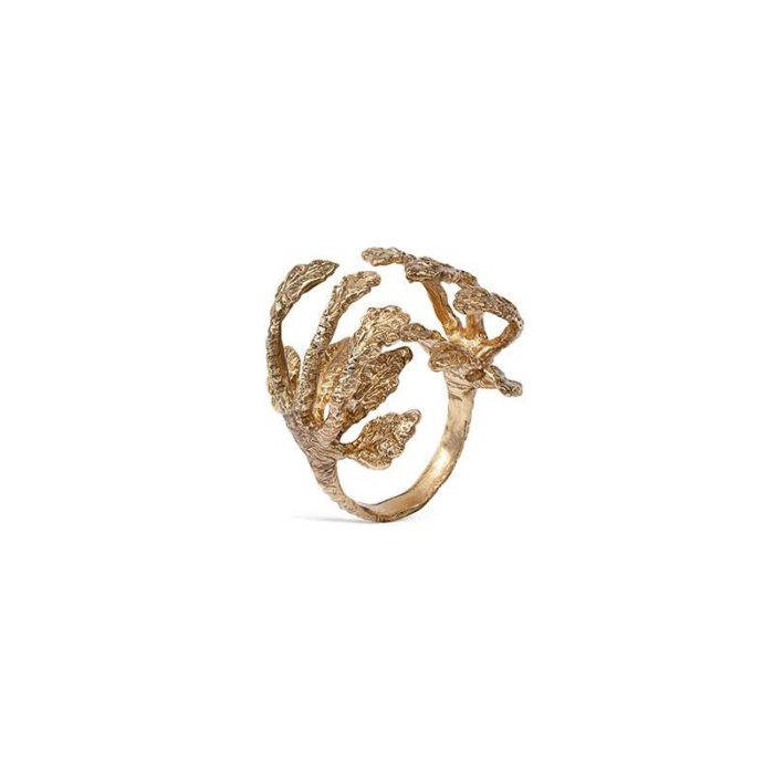 gold colored ring with leaves by Giorgia Panzironi