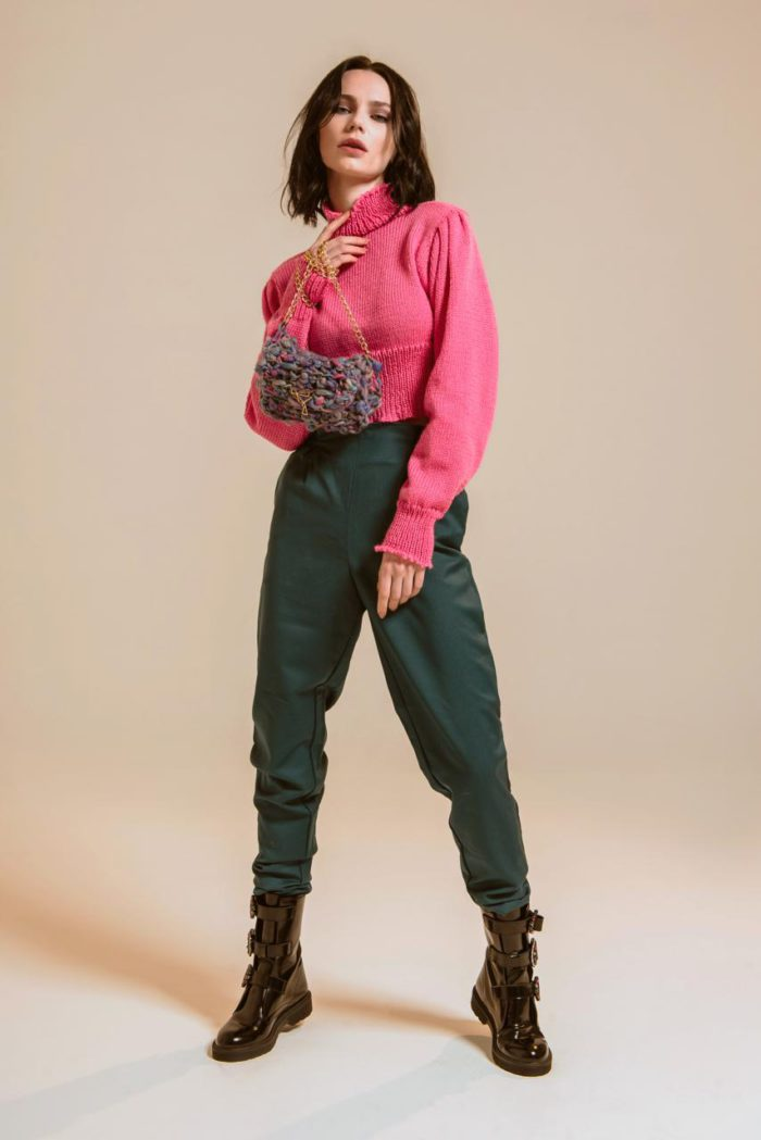 crop top in pink knit by arianna di maio