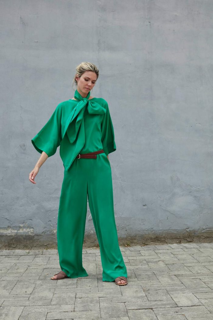 green jumpsuit with bow tail tailor spring summer 2020 collection