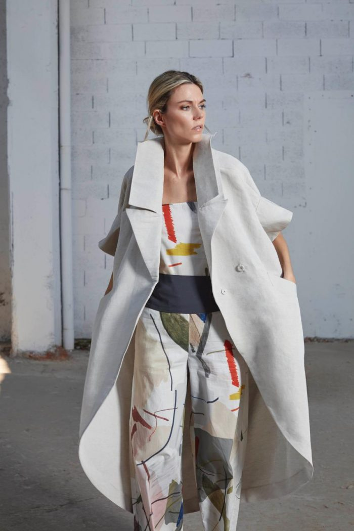 white trench coat and printed jumsuit bav tailor spring summer 2020 collection