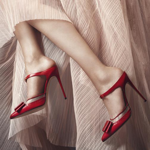 red mules with bow of bionda castana