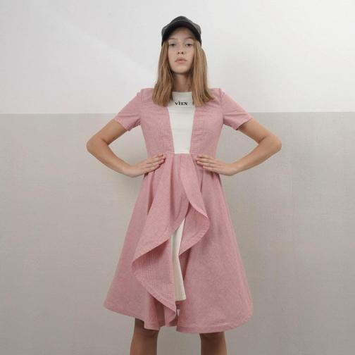 vien midi pink dress with frontal voile