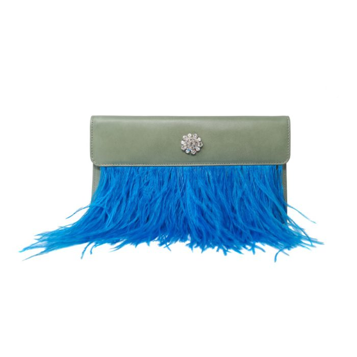 lucia merlo green clutch with blue feathers