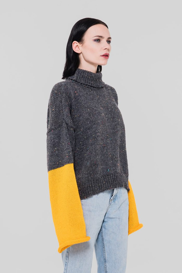 grey and yellow turtleneck sweater by arianna di maio