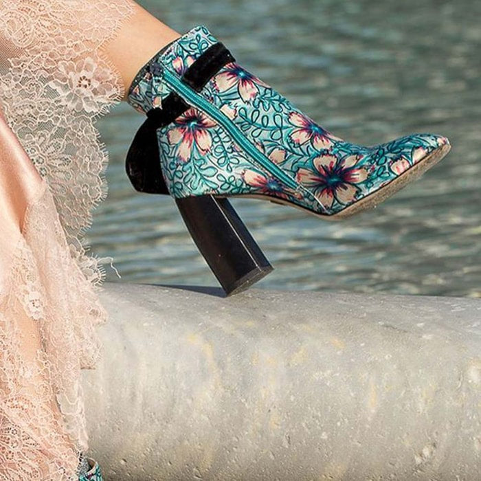light blue Susana Madrid shoes with flowers