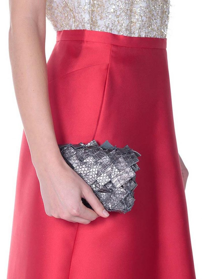 bag by Clemsa: silver mini clutch in interweaved leather