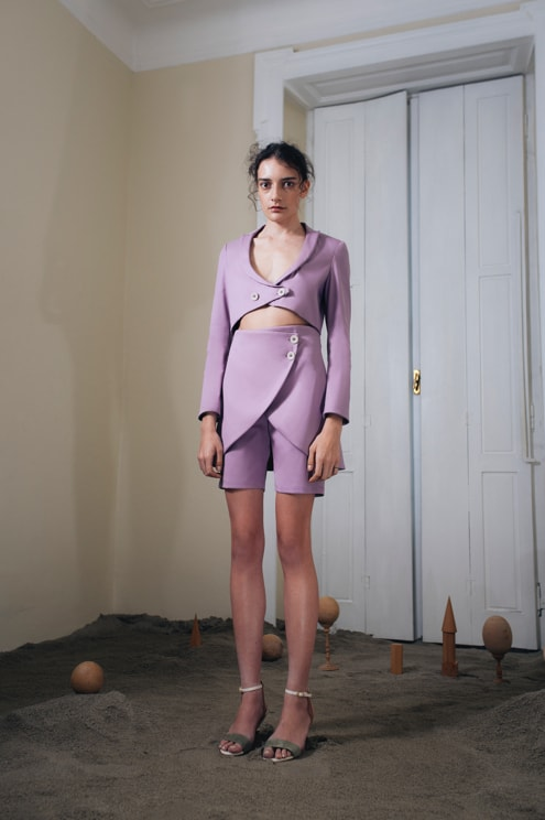 Total Roni look with lilac crop top and lilac shorts