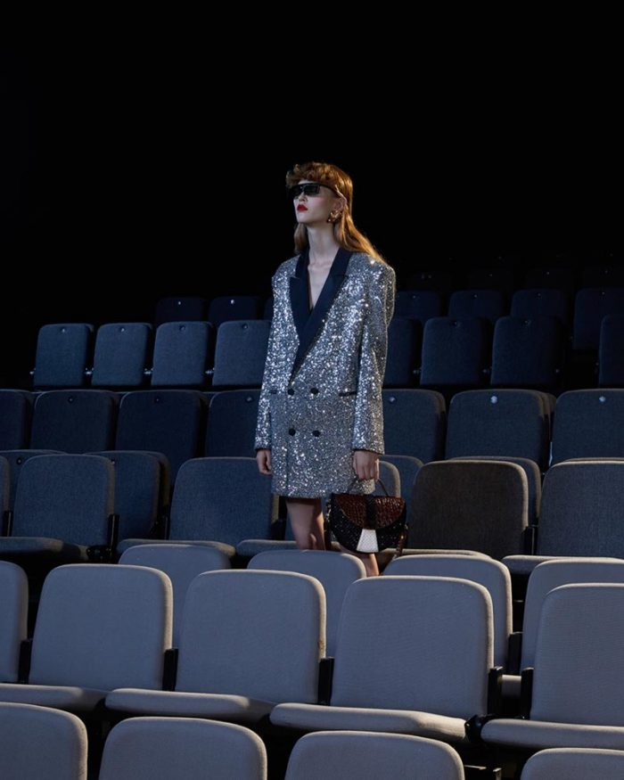 Motivi's look by Daniele Carlotta: the model wears a blazer dress completely embroidered with silver sequins