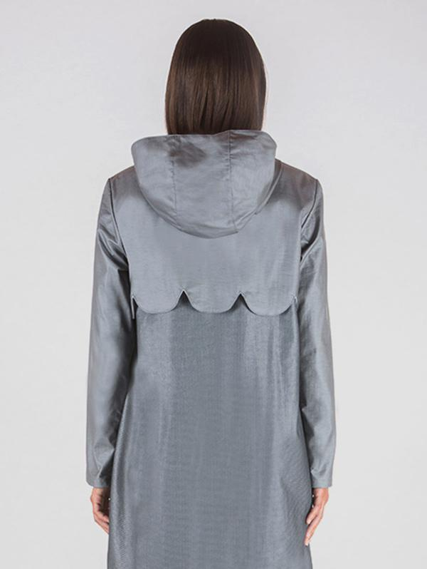 parka jacket with even threads in marble powder and fabric