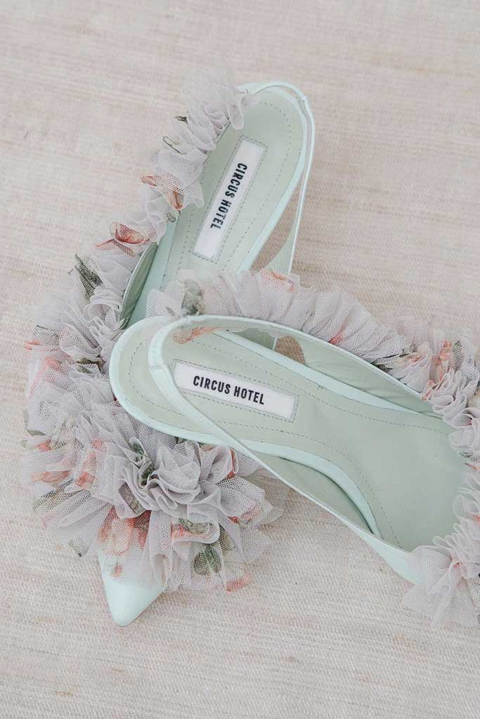Circus Hotel mint green slingback with flower print ruffle