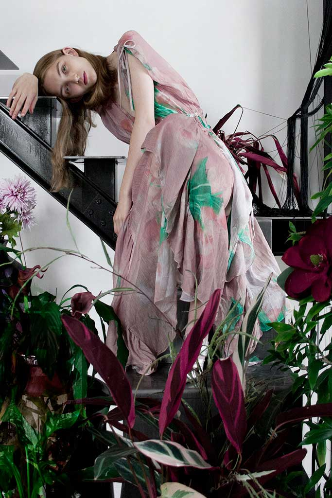 Long pink Alessandro De Benedetti dress with green floral print