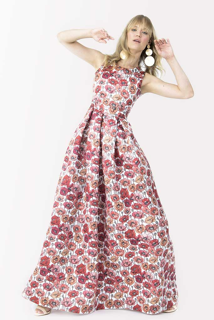Maxi dress The Abito with flowers with wide skirt