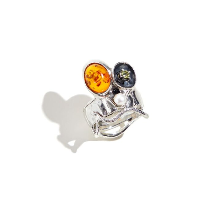 Heracleio Silver Ring - Dea Rail. Handmade burnished sterling silver ring with amber, peridot, natural pearl, black diamond.