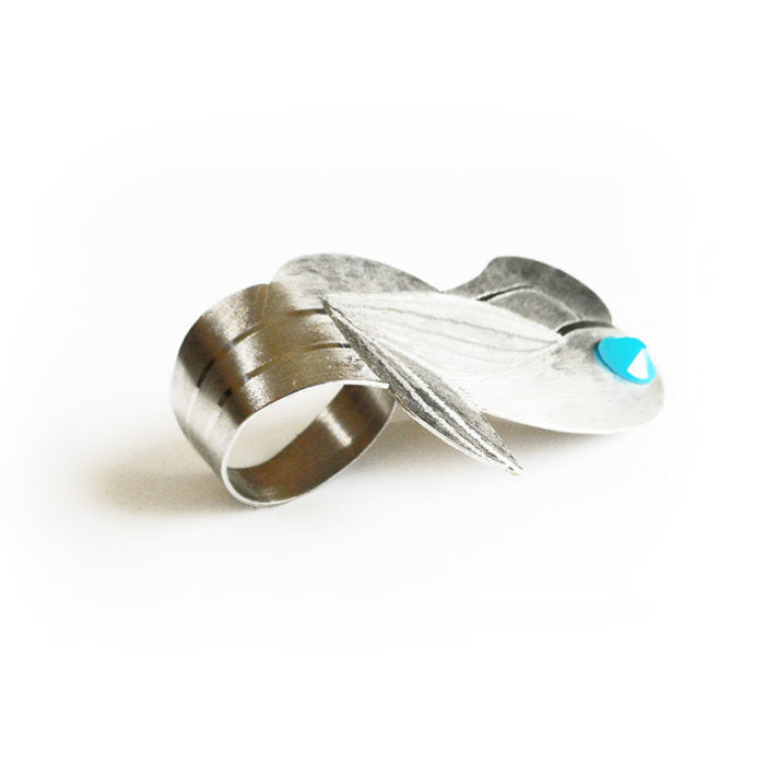 khàrm design silver ring with turquoise stone