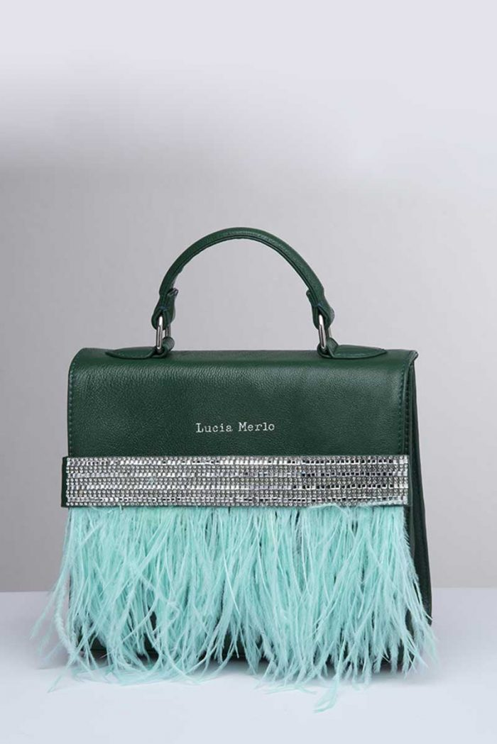 handbag by LUCIA MERLO: small forest green handbag with rigid handle, bright detail that embellishes the design and turquoise feathers