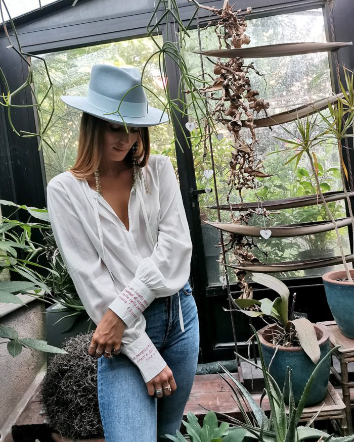 Ma Vie white shirt with embroidered cuffs