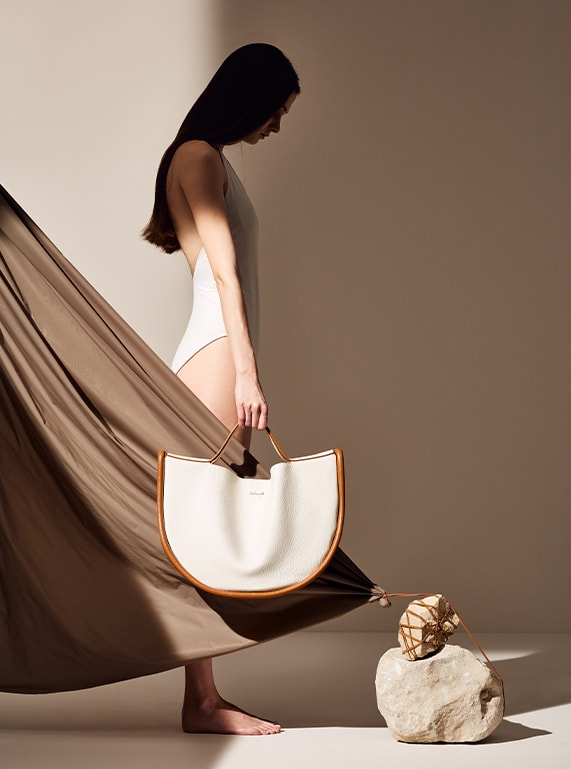 maxi melip bag in white leather