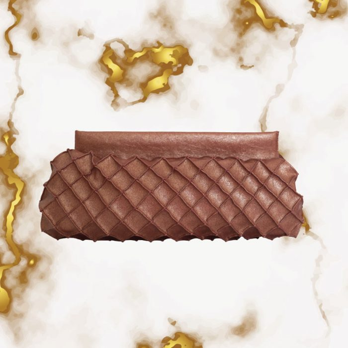 Fuscra clutch in faux pineapple rust color textured effect