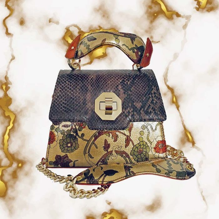 Kristina C. mini bag in leather and floral prints