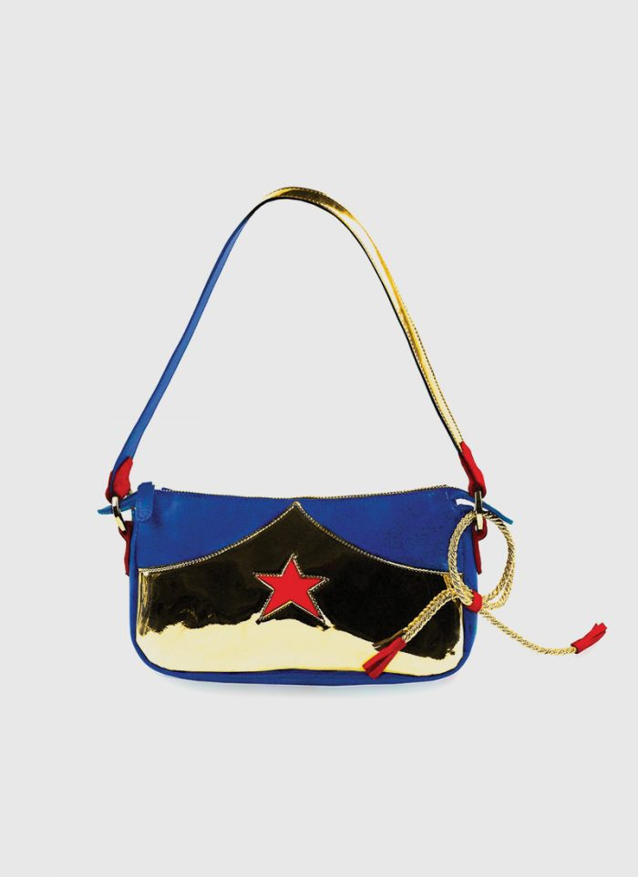 Wonder bag by NC POP gold, blue and red star