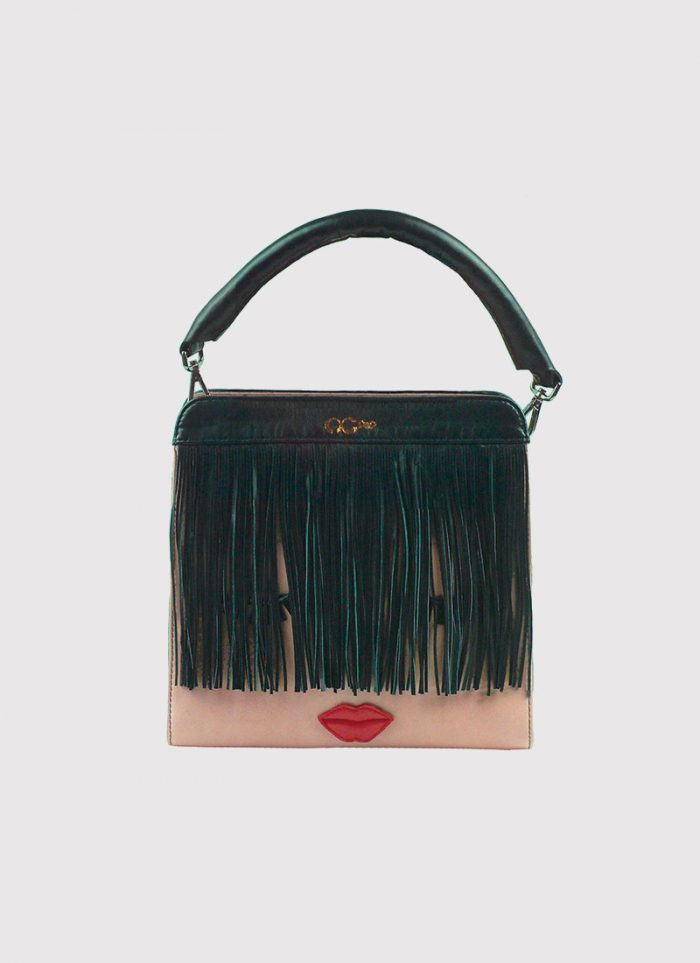 Nicky powder pink handbag by NC POP, with a particular red mouth, long black handle and fringes