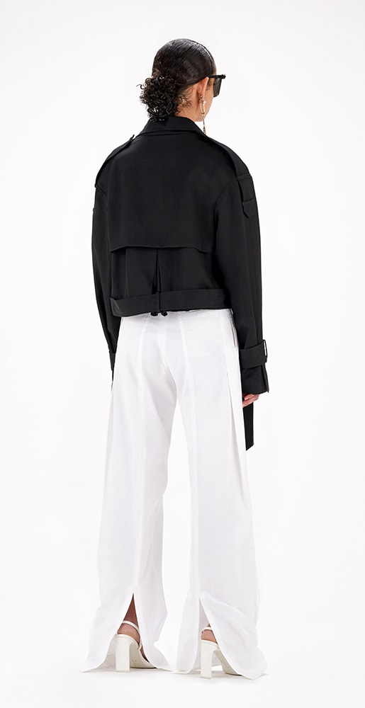 wide arrabal white pants with slit